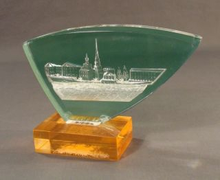Vintage Russian Soviet Historical Kazan Kremlin Tower View Lucite Desk Figurine photo