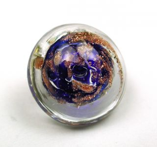 Antique Paperweight Glass Button Gold Sparkle Over Cobalt Blue Swirl Back photo