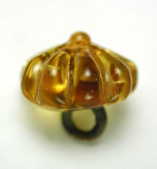 Antique Charmstring Glass Button Honey Color Candy Mold Swirl Back photo