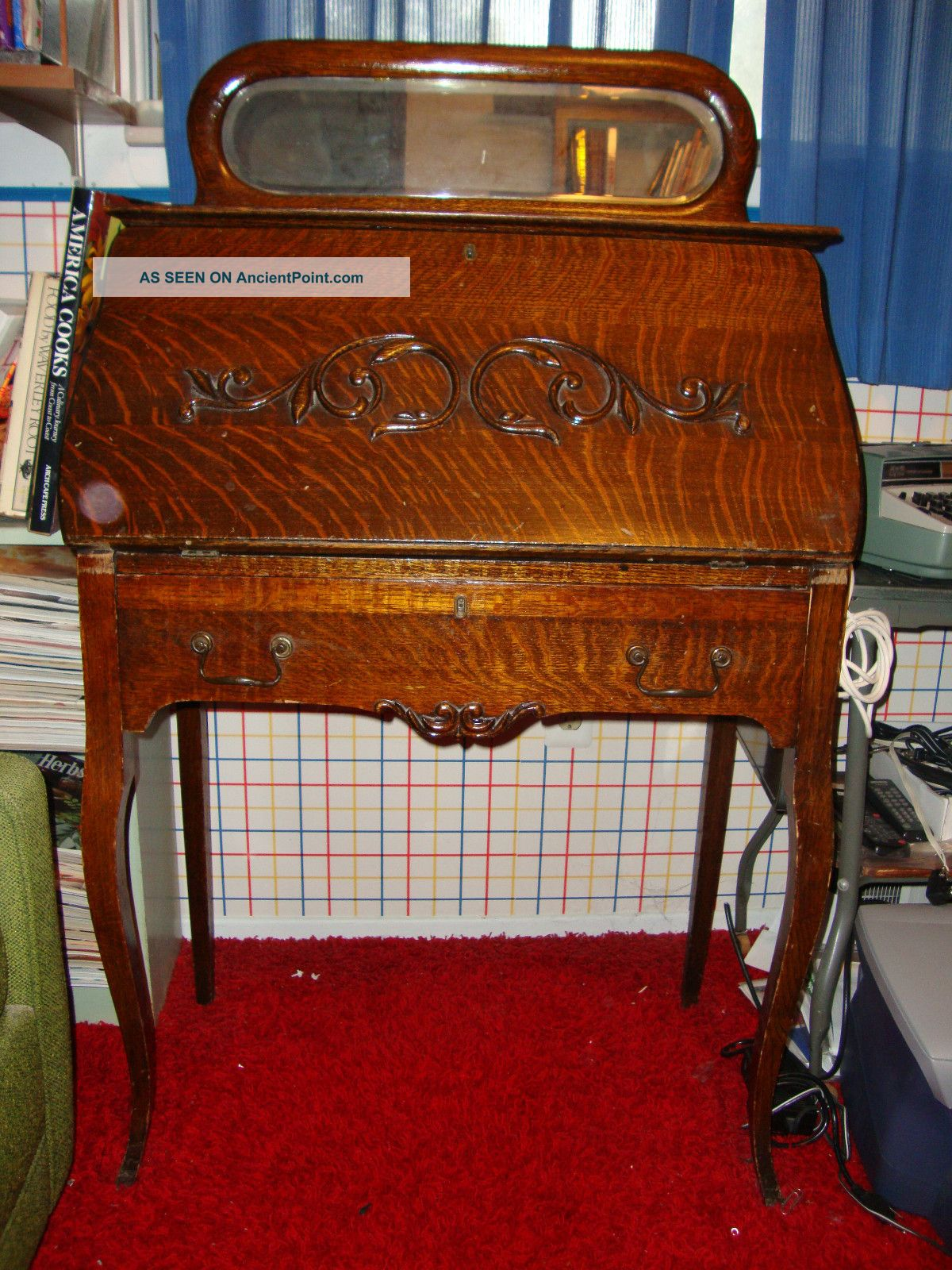 Antique Oak Secretary With Beveled Glass Mirror, Unknown photo