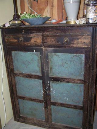 Antique Jelly Cabinet Painted Black Shabby Primitive Storage Jam Pie Safe  Tin Photo