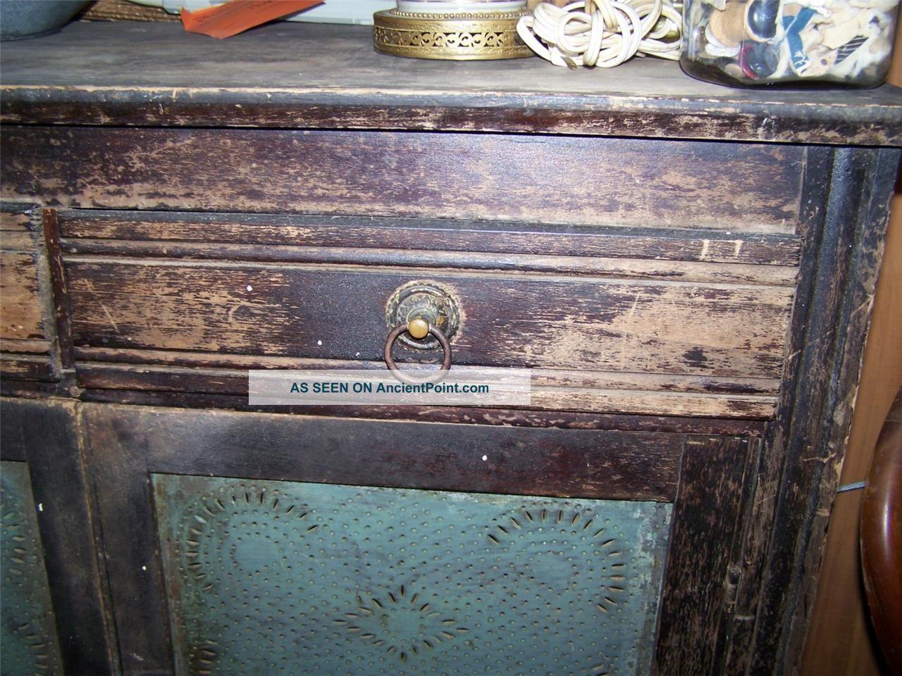 Antique Jelly Cabinet Painted Black Shabby Primitive Storage Jam Pie Safe  Tin