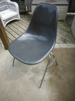 Vintage Herman Miller Eames Elephant Hide Grey Shell Chair photo