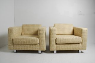 Pair Of Large Scale Cube Club Chairs By Milo Baughman For Thayer Coggin photo