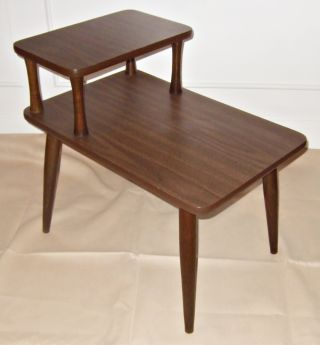 Danish Modern Step Table Tapered Leg Side Mid Century Wood Vtg 60s Brown End photo