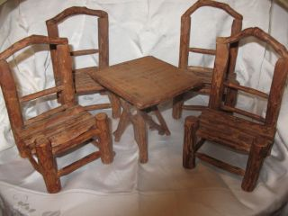 Antique 5 Piece Rustic Adirondack Miniature Twig Set 4 Chairs Table Circa 1910 photo