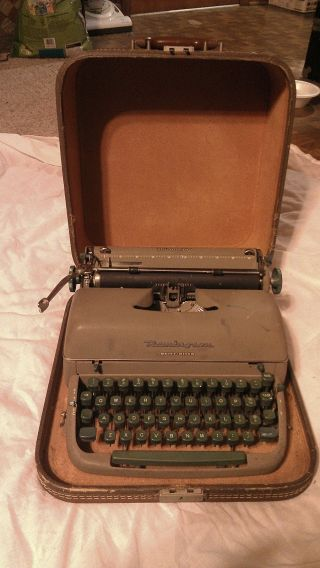Working Rare 1950 ' S Retro Green Antique Remington Quiet Riter Typewriter & Case photo