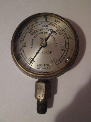 Vintage Antique Ashton Gauge Hartford Steam Boiler Insp.  &ins.  Co.  Ad Steampunk photo