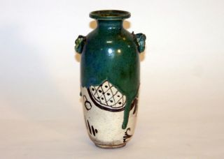 Antique Japanese Oribe Zen Tea Ceremony Pottery Vase photo