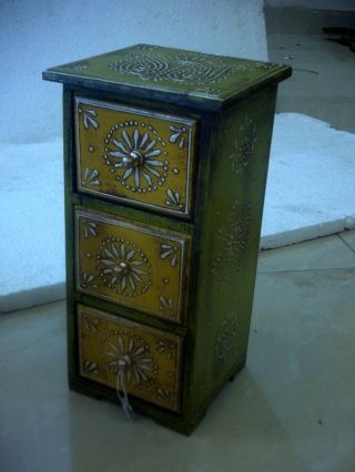 Home Decor Vintage 3 Drawer Embossed Hand Painted Wood Box Design Old India photo