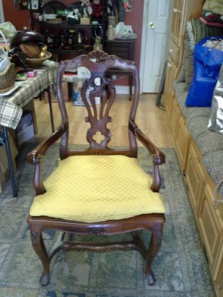 Mid Century Chair Ecclectic Mahogany English Carved Flowers Caned Seat Extra Wid photo