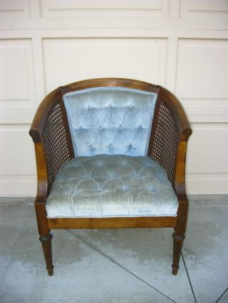 Vintage Mid Century Modern Cane Tufted Baby Blue Velvet Club Arm Chair photo