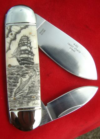 Double Sided Nautical Scrimshaw Art,  Tall Ship,  Dolphins,  Folding Knife/knives photo