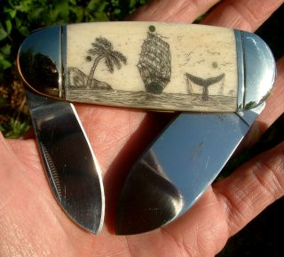 Nautical Scrimshaw,  Tall Ship,  Whale,  Palm Tree,  Folding Knife/knives photo