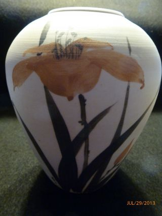 Artistic Chinese Hand - Painted Studio Pottery Vase - Signed By Artist W/impression photo