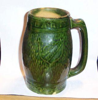 Vtg Green Glaze Pottery Mug German Mug With Shield Handmade Clay Stien photo