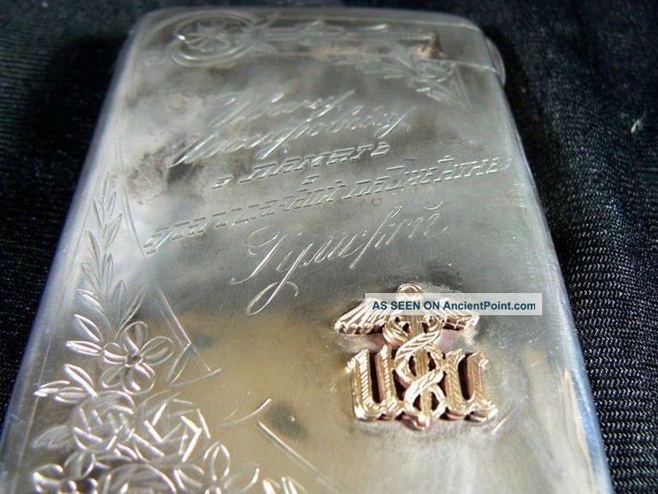 Antique Russia 84 Silver Hallamark Cigarette Case Gold Doctor Presentation C1900 Russia photo