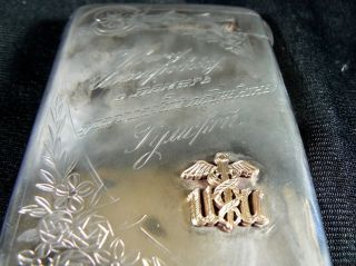 Antique Russia 84 Silver Hallamark Cigarette Case Gold Doctor Presentation C1900 photo