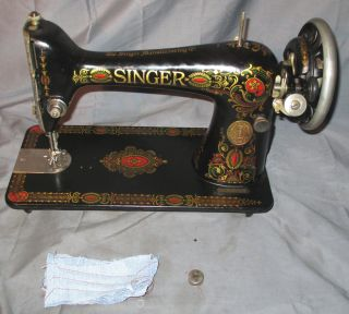 Serviced Antique 1922 Singer 66 - 1 Red Eye Treadle Sewing Machine Works See Video photo