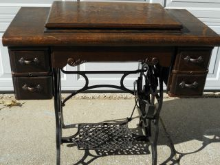 Antique Davis Vertical Feed Treadle Sewing Machine On Cast Iron Base W/cabinet photo