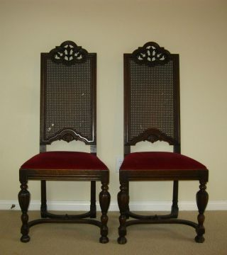 Pair/two Spanish Style Cane Tallback Throne Accent Chairs Red Velvet Carved photo