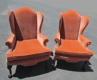Pair Vintage French Provincial Orange Velvet Wing Back Accent Chairs Midcentury photo