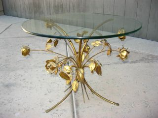 Vintage Italian Wheat Sheaf Style End Coffee Table Gold Gilt Round Glass Top photo