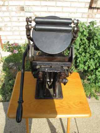 Anitque Printing Press Sigwalt,  Cast Iron,  Ideal No.  3,  Rotating Deck photo