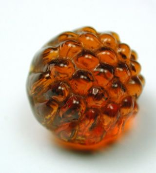 Antique Charmstring Glass Button Honey Color Berry Top W/ Swirl Back photo