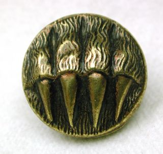 Antique Brass Picture Button Bear Paw With Claws Extended photo