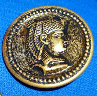 Antique Egyptian Pharoh Head Button - Brass Plt Metal - 1.  5