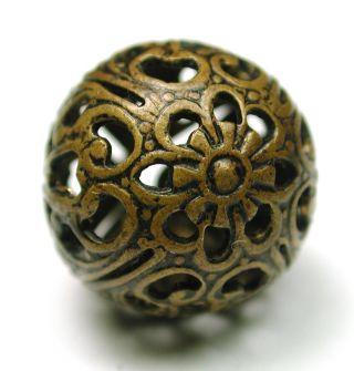 Antique Brass Picture Button Floral Filigree Bird Cage Design photo