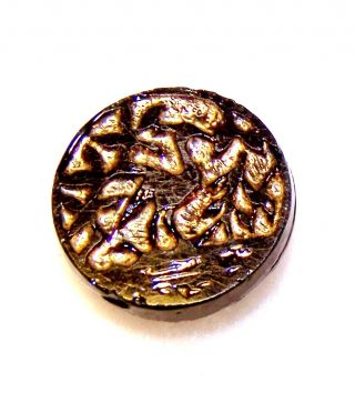 "Antique Black Glass Button W/gold W/prehistoric Bird Or Dinosaur & Leaves 11/16"" photo"