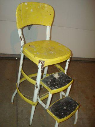 Vintage Retro Yellow Cosco Step Stool Mid - Century Kitchen Steel Footstool Chair photo