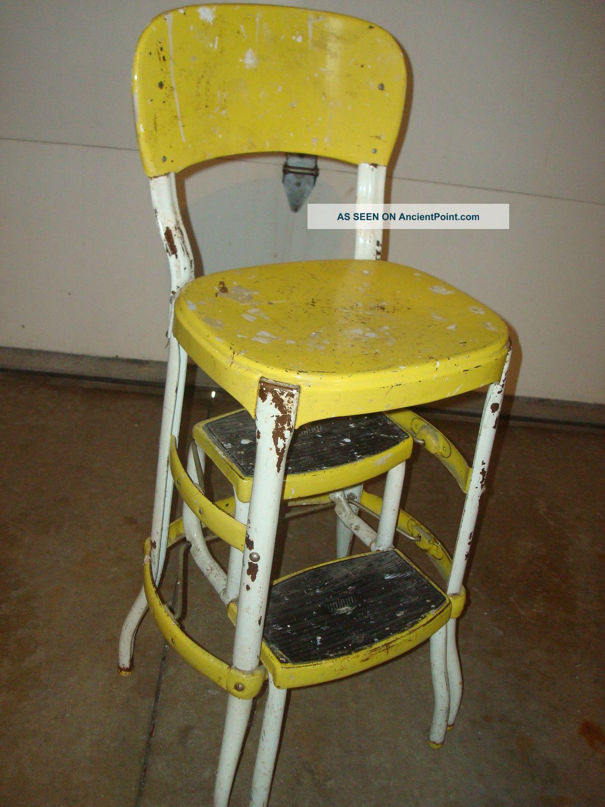 Vintage Retro Yellow Cosco Step Stool