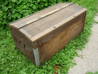 Old Small Steamer Trunk With Pat K.  Kennedy Name Plate As Found photo