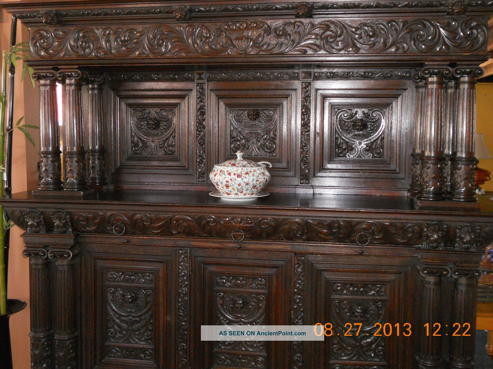Antique,  Hand Carved Buffet,  1800 ' S Early 1900 ' S,  Germany,  Solid Oak 1800-1899 photo
