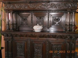 Antique,  Hand Carved Buffet,  1800 ' S Early 1900 ' S,  Germany,  Solid Oak photo