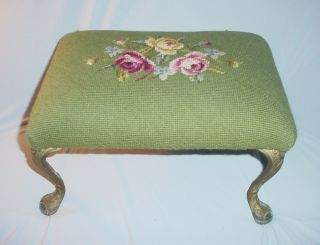 Antique Needlepoint Footstool Romantic Cottage Chic photo