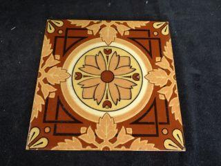 1868 - 1918 Minton ' S China Works Stoke On Trent Trivet Tile Art Nouveau photo