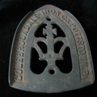 Iron Rest 3 Feet + Stamped Colebrookdale Posttstown Pa + Cross & Crown Antique photo