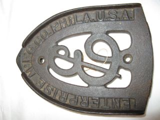 "Antique Clothes Iron Trivet: Enterprise Mfg Co Phila Usa: 6""x4.  5""x1"" photo"