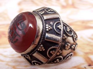 Antique Islamic Ring Tribal Middle Eastern Red Agate Carnelian Aqeeq Jewelry photo
