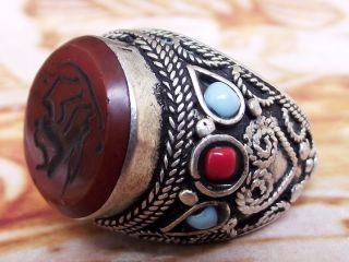 Afgani Islamic Ring Tribal Middle Eastern Red Agate Carnelian Aqeeq Akik Achat photo
