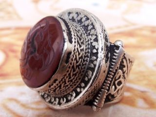 Antique Ghazal Engraved Ethnic Middle Eastern Red Agate Ring Aqeeq Carnelian photo