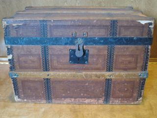 1800 ' S Antique Wooden Doll Child ' S Trunk Chest Square Design Removable Tray photo