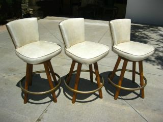 Three Danish Mid Century Barstools Decorative Nails Swivel Chairs Pair photo