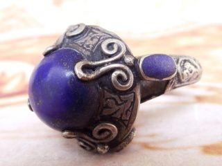 Antique Islamic Women Ring Ethnic Middle Eastern Jewelry Lapis Lazuli Stone photo