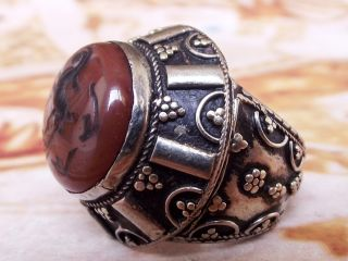 Antique Islamic Ethnic Middle Eastern Red Agate Men Ring Aqeeq Jewelry Cincin photo
