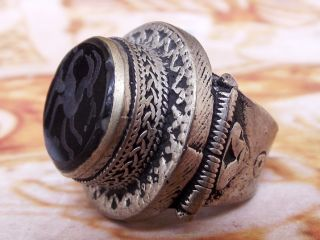 Antique Islamic Ethnic Middle Eastern Black Agate Men Ring Aqeeq Jewelry Cincin photo